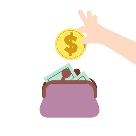 Ilustración vectorial ahorrar dinero y pasar con el monedero. Concepto de Finanzas.