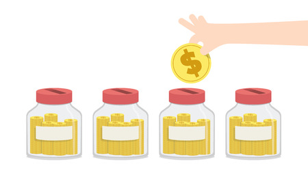 expenditure: Illustration vector blank saving money with jar to spend for something like home repairs, car payment, education, expenses for travel, and so on. Finance Concept. Illustration