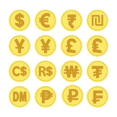 illustration vector. coins for currency exchange rates. Finance Concept. Illustration