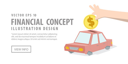 Illustration vector Banner Saving money and spending for car. Finance Concept.