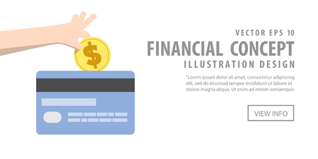 credit card debt: Illustration vector Banner Paying off credit card debt. Finance Concept.
