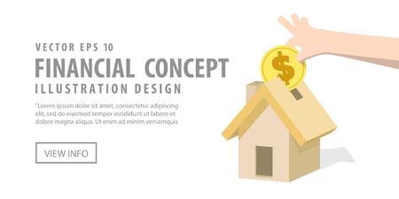 debt collection: Illustration vector Banner Saving money and spending for housing. Finance Concept. Illustration