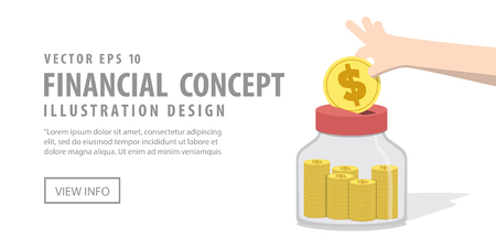 spending: Illustration Vector Banner Saving Money and spending with jar. Finance Concept. Illustration