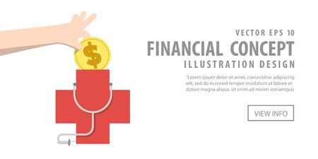 Ilustración vectorial Banner ahorro de dinero y el gasto para la atención de salud. Concepto de Finanzas.