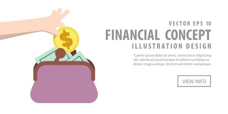 spending: Illustration vector Banner Saving Money and spending with purse. Finance Concept.