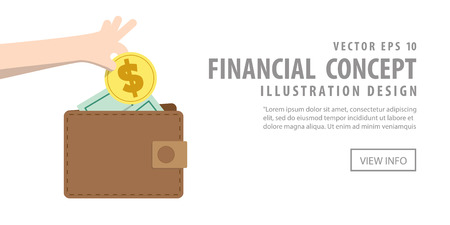spending: Illustration vector banner Saving money and spending with wallet. Finance Concept.