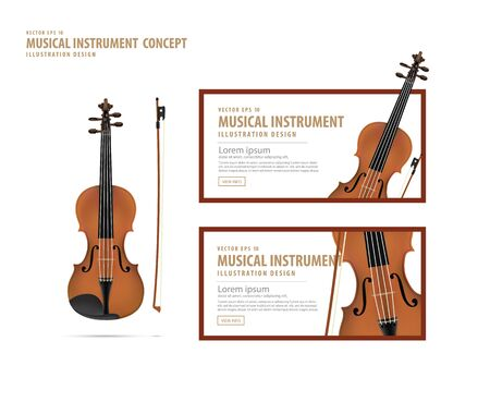 Illustration vector violin, Musical instrument design realistic style and banner layout for commercial.