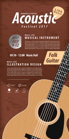 rosewood: Guitar, Musical instrument design realistic style and poster music festival layout for commercial vector. Musical instrument and music concept. Illustration