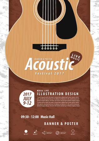 rosewood: Guitar, Musical instrument design realistic style and A4 poster music festival layout for commercial vector. Musical instrument and music concept.