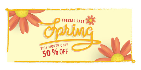 Spring yellow and orange flower 50 percent off heading design and yellow frame for banner or poster. Sale and Discounts Concept. Vector illustration.