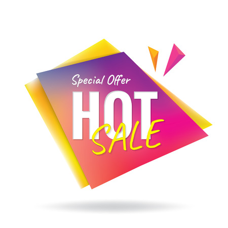 buy now: Hot Sale colorful sharp heading design for banner or poster. Sale and discounts. Vector illustration