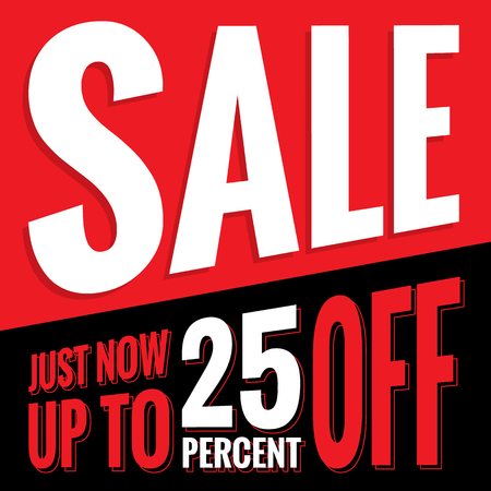 Vol.2 Sale sign set red and black 25 percent heading design for banner or poster. Sale and Discounts Concept. Vector illustration. Illustration