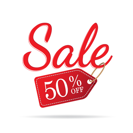 Vol.3 Sale sign set red on white background 50 percent off heading design for banner or poster. Sale and Discounts Concept. Vector illustration. Stock Illustratie