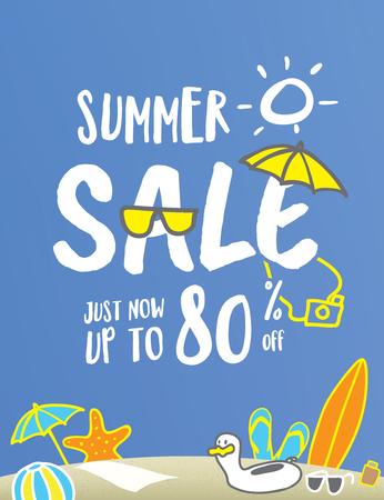 夏のセールの見出し楽しさとかわいい手バナーまたはポスターのスタイル イラスト デザインを描画します。販売と割引の概念。ベクトルの図。