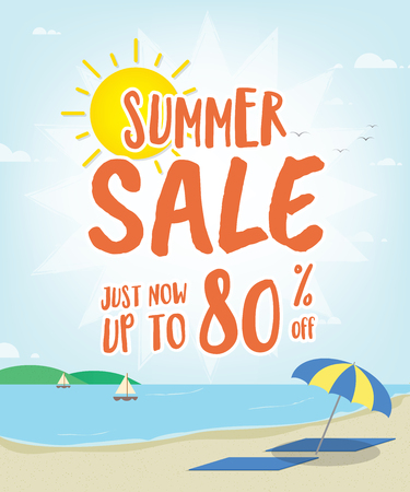 Summer Sale heading with illustration design on the beach for banner or poster. Sale and Discounts Concept. Vector illustration.