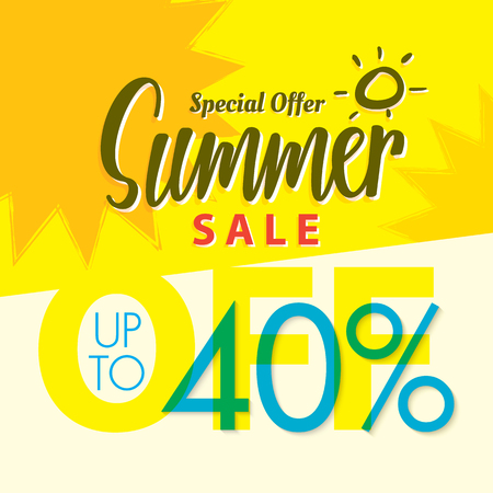 Ssummer 販売は、バナーまたはポスターの V.2 40% 黄色見出しデザインを設定します。販売と割引の概念。ベクトルの図。  イラスト・ベクター素材