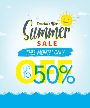 Summer Sale set V.3 50 percent blue heading design for banner or poster. Sale and Discounts Concept. Vector illustration.