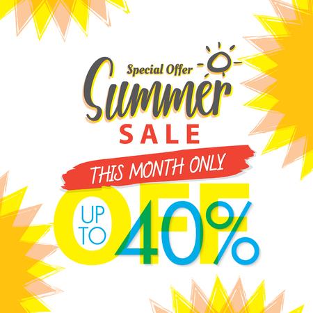 Summer Sale set V.4 40 percent colorful heading design for banner or poster. Sale and Discounts Concept. Vector illustration.