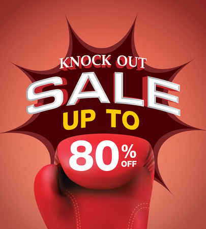 Knock out sale 80 percent heading design for banner or poster. Sale and Discounts Concept.