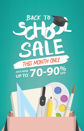 Back To School Sale heading design promotion price tag for banner or poster.