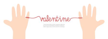 Banner thread red valentine on white background illustration vector. Love concept. Ilustração