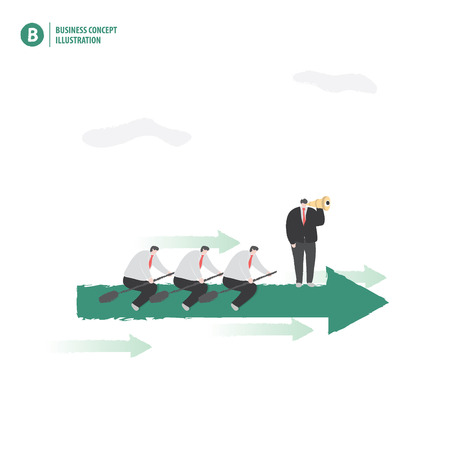 Businessmen on the arrow boat showing teamwork with leader on white background illustration vector.
