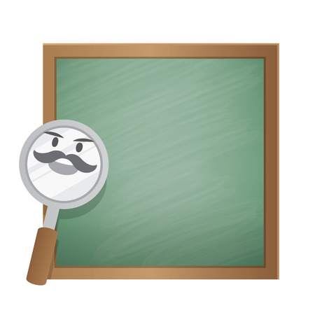 Magnifying glass character cartoon design and text box green board frame for message illustration vector. Education concept. Иллюстрация