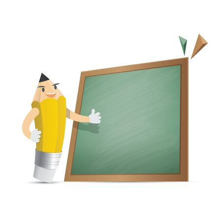 Pencil character cartoon design and text box green board frame for message illustration vector. Education concept.