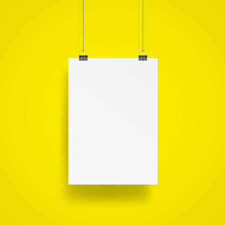 Blank Hanging poster with clip and wire mockup vector on yellow background. Vettoriali