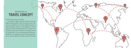 Banner Planning & Location world map illustration vector background. Travel concept.
