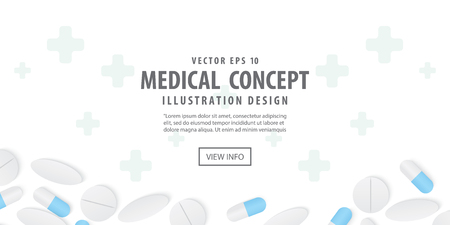 Banner frame capsules medicine and pills top view illustration vector on white background.