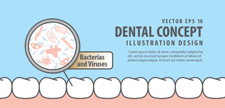 Banner Bacterias and viruses with white teeth illustration vector on blue background. Dental concept.