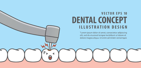 Banner Caries tooth with dental bur illustration vector on blue background. Dental concept.