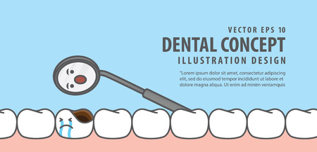 Banner Cavity tooth and mirror teeth checkup illustration vector on blue background. Dental concept.