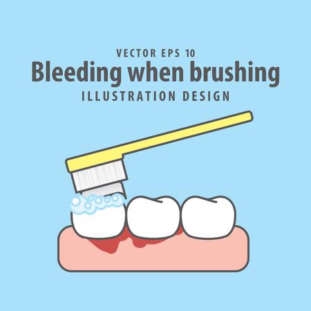 Bleeding when brushing illustration vector on blue background. Dental concept.