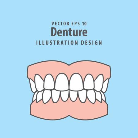 Denture illustration vector on blue background. Dental concept.