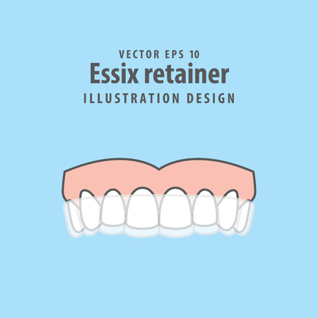 Essix retainer illustration vector on blue background. Dental concept.