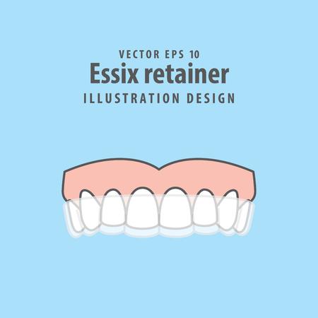 Essix retainer illustration vector on blue background. Dental concept.