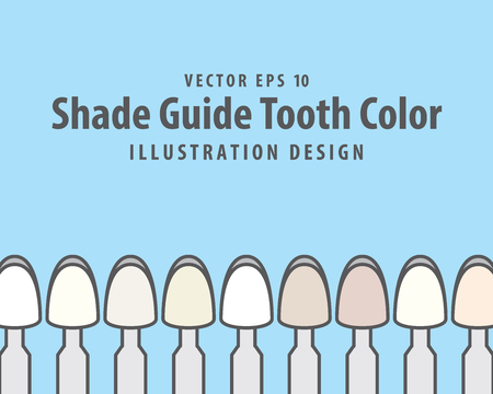 Shade Guide Tooth Color illustration vector on blue background. Dental concept. Ilustracja