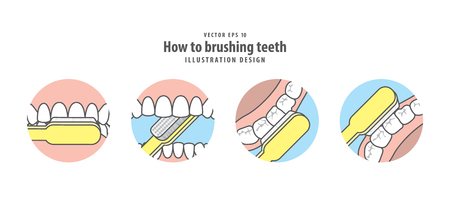 How to brushing teeth illustration vector on blue background. Dental concept.