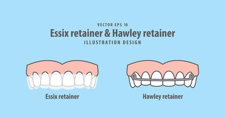 Essix-Halter u. Hawley-Halterillustrationsvektor auf blauem Hintergrund. Dental-Konzept. Vektorgrafik