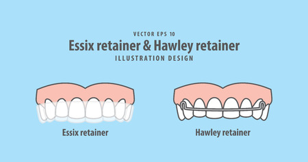 Essix retainer & Hawley retainer illustration vector on blue background. Dental concept. Vetores