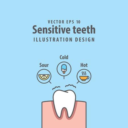 dientes de dientes individuales ilustración vectorial sobre fondo azul. concepto dental . Ilustración de vector