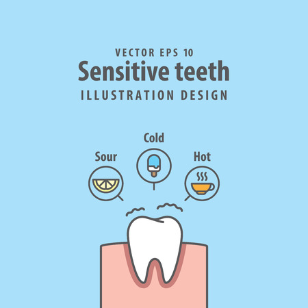 Single Sensitive teeth illustration vector on blue background. Dental concept.