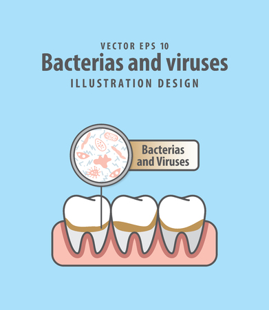 Bacterias and viruses with calculus teeth illustration vector on blue background. Dental concept. Illustration