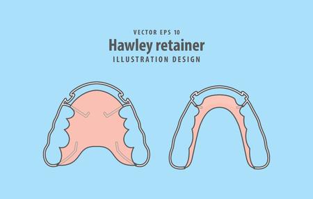 Hawley retainer illustration vector on blue background. Dental concept. Ilustração
