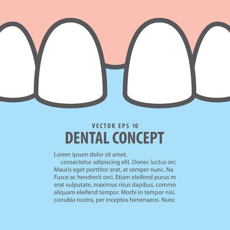 Layout closeup upper teeth illustration vector on blue background. Dental concept.