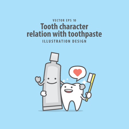 Tooth character relation with toothpaste illustration on blue background. Dental concept.