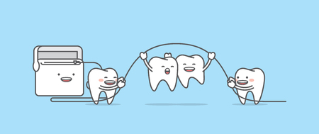 Tooth character jumping up with floss illustration vector on blue background. Dental concept.