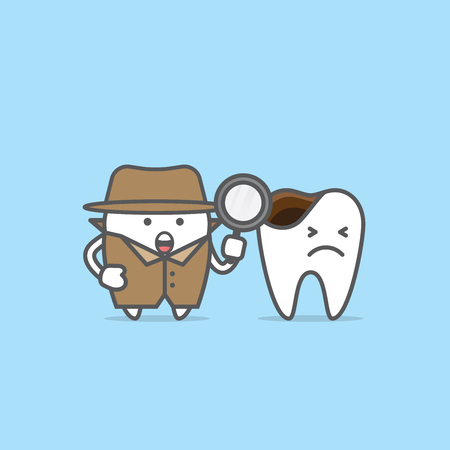 Tooth character detective with decayed tooth illustration vector on blue background. Dental concept. Ilustração